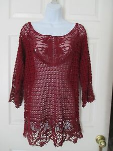 Umgee-crochet-amp-lace-tunic-shirt-Size-L-Anthropologie-burgundy