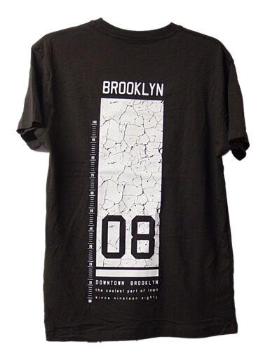 Hommes Garçons ex store Brooklyn 08 T-Shirt Noir Gym été vacances-SZ XS-XL