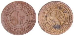 Nebengebiete/Gent Official Emergency Money 1 Swiss Francs 1915 (2) Almost XF