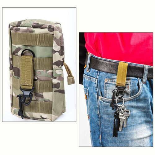 NYLON OUTDOOR TACTICAL BELT CARABINER KEY HOLDER BAG HOOK CLIMBING TOOL FADDISH