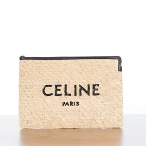 CELINE-720-Small-Pouch-In-Raffia-amp-Calfskin-With-Sequined-Logo-Embroidery