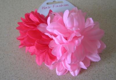 2 Capelli Elastici Per Capelli Legami Bobble Banda Elastico Ponio Rosa Fiore In Tessuto 90mm Stili-