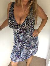 Dorothy Perkins Blue V Front Tulip Style Animal Print Knee Length Dress Size 10