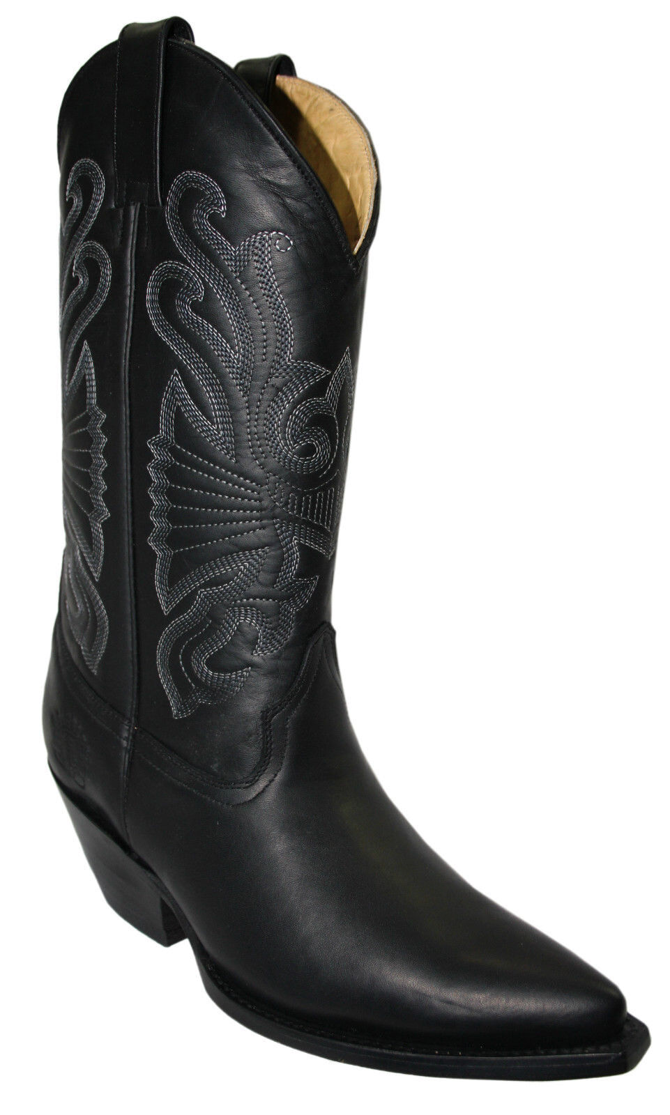 Grinders mujer mujer unisex vaquero occidental de cuero genuino Buffalo Negro Botas