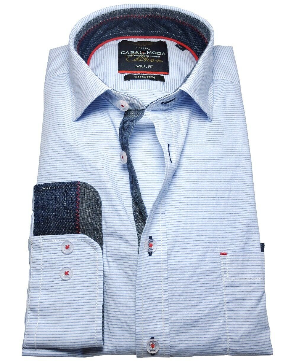 Casa Moda Club Edition Stretch Langarmhemd hellblue blue quergestreift Gr. M-7XL