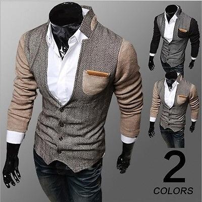 Fashion Men's Slim Fit Stylish Casual Button Suit Business Blazers Coat Jacket