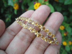 Natural-CITRINE-Stones-Sterling-925-Silver-Adjustable-BRACELET-11-0-Inches
