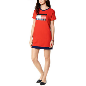 Tommy-Hilfiger-Womens-Red-Sport-Logo-T-Shirt-Sweater-Dress-Size-Large