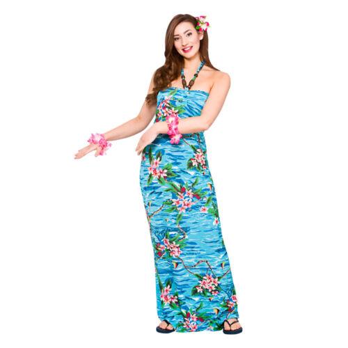 Hawaiian Orchid Ocean Maxi Long Dress Fancy Dress Costume Outfit Womens Summer