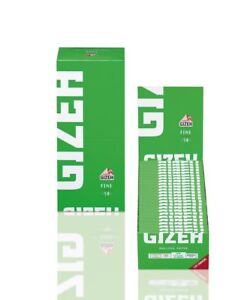 50-Booklets-GIZEH-FINE-Cut-Corners-Rolling-Paper-Green-Box-2500-Papers