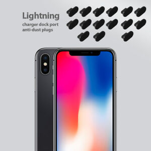 new style 2b43a f3d3e Details about iPhone X Charging Port Cover Lightning Plug Set 15 Pack Anti  Dust Silicone Cap