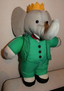 Peluche-Babar-l-039-elephant-en-Toile-de-Parachute-38-cm-Doudou