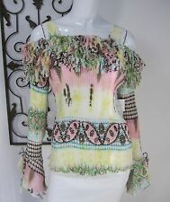 KAELYN-MAX NWT LONG SLEEVE PLEATED BLOUSE SIZE L, MULTICOLORED