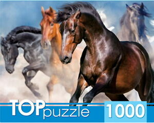 "Puzzles 1000 pieces 68.5*48.5cm. ""Herd of horses"". Red Cat ГИТП1000-2147."