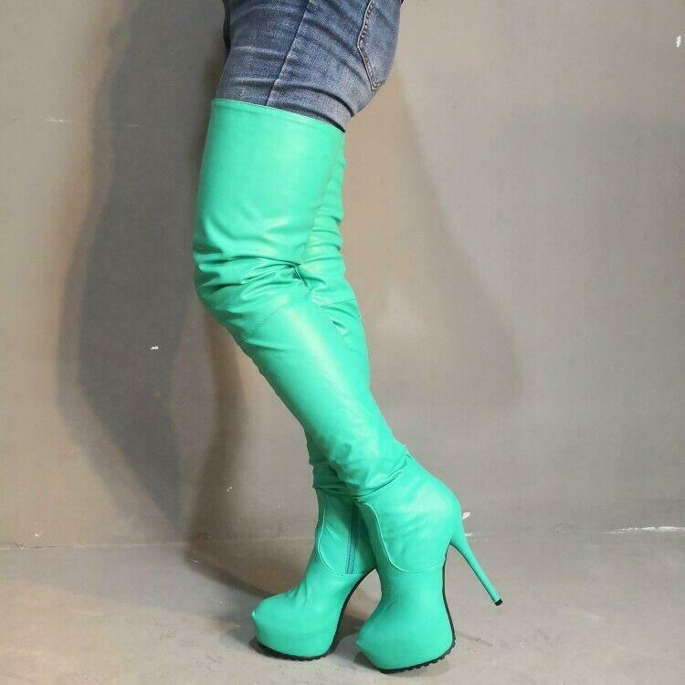 Stylish Women Over Knee Thigh High Boots Platform High Heel Boots shoes Big Size
