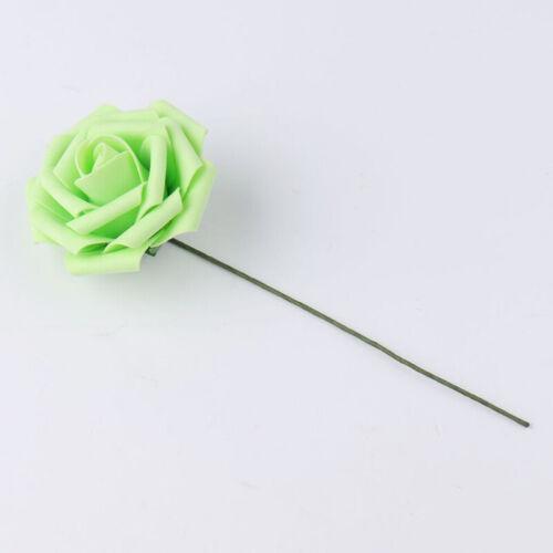 50pcs Artificial Flowers Foam Roses with Stem Bride Wedding Bouquet Home Decor