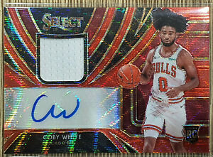 2019-20-Panini-Select-Tmall-Coby-White-Red-Wave-Patch-Auto-Bulls