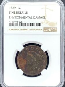 1829 1C Large Cent Coronet/Matron Head NGC Fine Details - Environmental Damage