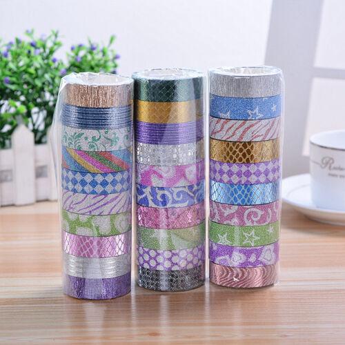 10 Rolls 3M Self Adhesive Sticker Set Glitter Washi Masking Tape Craft DIY Decor