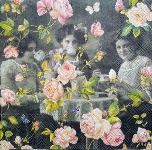 4 vintage table serviettes en papier pour découpage déjeuner DECOPATCH Craft It is tea time