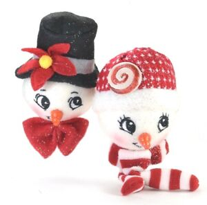Snowball Snowman Girl and Boy Foam Christmas Ornaments.  NEW Kurt Adler