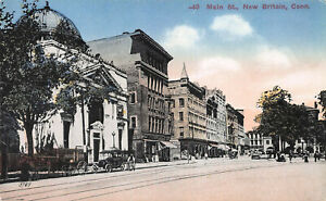Main-Street-New-Britain-Connecticut-Early-Postcard-Unused