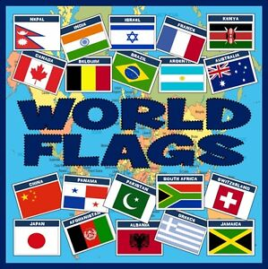 Details about *CD* 100 A4 WORLD FLAGS TEACHING RESOURCES GEOGRAPHY DISPLAY  COUNTRIES