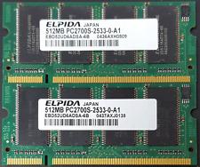 Elpida 1GB ( 2X 512MB) DDR, 333 PC2700 Latop Memory