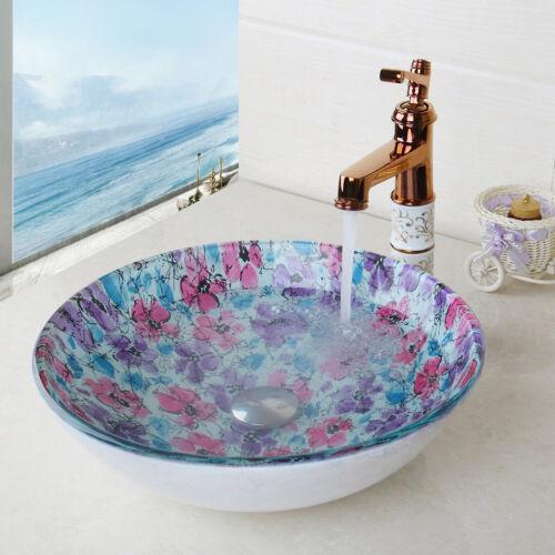 Modern Bathroom Round Tempered Glass Vessel Sink /& Brass Mixer Faucet Set Combo