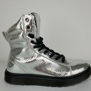 Women-039-s-Doc-Marten-039-s-Mix-Silver-Chrome-Metallic-Leather-Snakeskin-Boots-Size-8