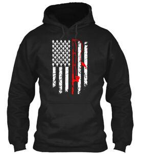 Vintage Fishing with American Flag Bass Fishing Zip Hooded Sweatshirt