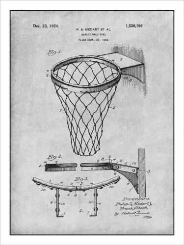 1924 Basketball Goal Patent Print Art Drawing Poster 18X24