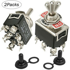 2 X 6pin Dpdt Momentary Toggle Switch Boot Cap 15a 380v Onoffon Amp Waterproof