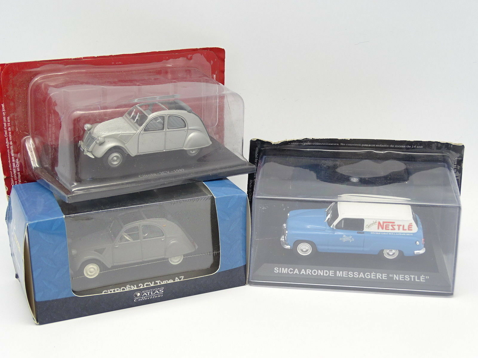 Ixo Press 1 43 - Set of 3   Simca Aronde Nestlé - Citroen 2CV 1949 and AZ