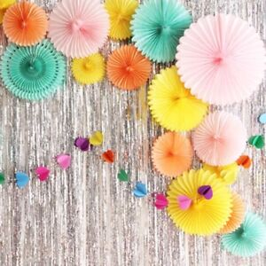 Tissue paper flower hanging fan wedding birthday garland party decor image is loading tissue paper flower hanging fan wedding birthday garland mightylinksfo