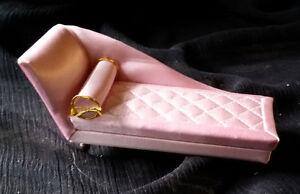 "Vintage PETITE PRINCESS Fantasy Furniture 4.5"" Pink Chaise Longue IDEAL Japan"