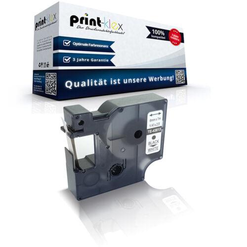 Alternatives Schriftband für Dymo 43613 Schwarz auf Weiß 6mm-Office Plus Serie