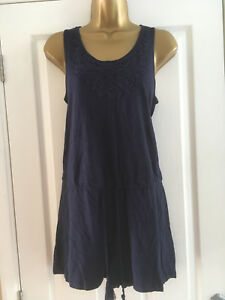 dcf220f15f Details about BNWT M&S Ladies Navy Blue Sleeveless Beach Playsuit Size 8
