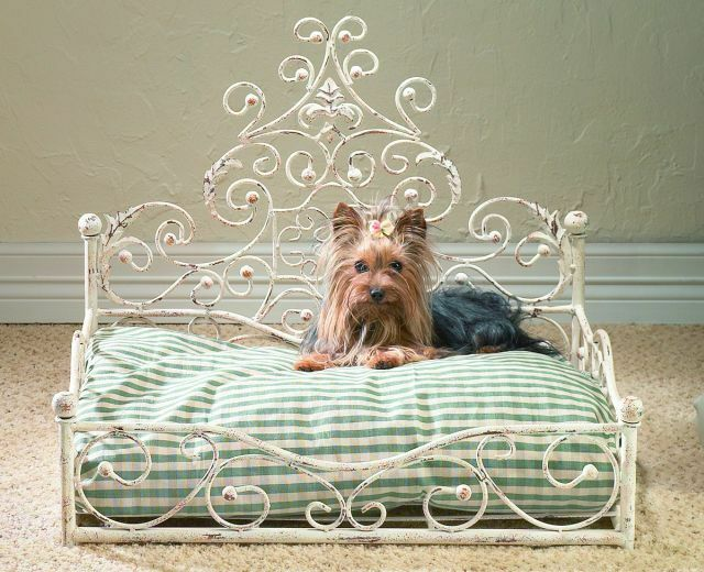 NEW STUNNING TUSCAN IRON ORNATE ACANTHUS SCROLL PET DOG CAT BED