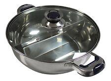 HCX 32 cm Stainless Steel Shabu Shabu Dual Sided Cooking Soup Hot Pot W/ Lid
