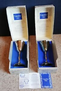 Pair of vintage CAVALIER Reproduction Silver Plate Georgian Goblets Boxed
