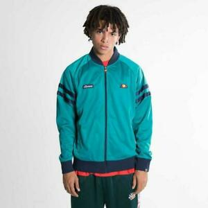 Ellesse-Mens-Track-Top-Jacket-Bomber-Retro-Green-Navy-Large-RRP-65-New