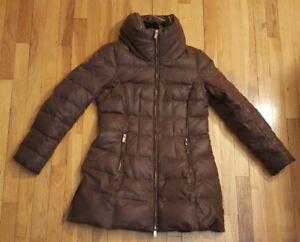 b9f577b4 ZARA BASIC Brown Puffer Down Long Winter Jacket Coat Womens Large L ...