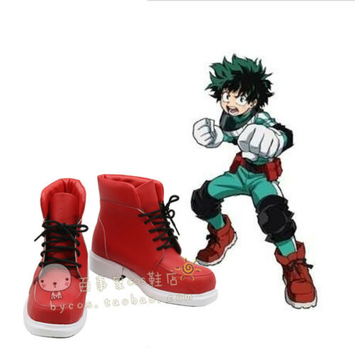 My Hero Academia Midoriya Izuku Red Cos Shoes Cosplay Boots