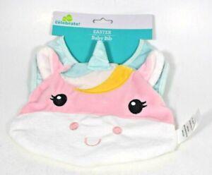 Girl's Adorable Unicorn Baby Bib - Pastel Colors (Feeding)