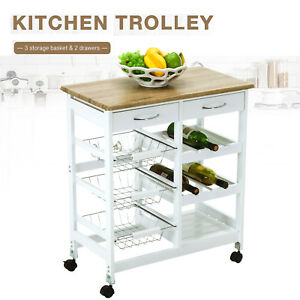 Kitchen-Island-Cart-Trolley-Portable-Rolling-Storage-Dining-Table-2-Drawers-Oak