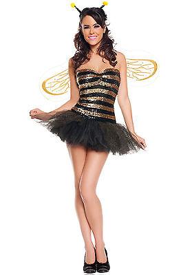 sexy sequin bumblebee queen bee black yellow animal halloween costume w wings