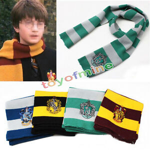 Harry-Potter-rayada-bufanda-de-Gryffindor-Slytherin-Hufflepuff-Ravenclaw-Cosplay