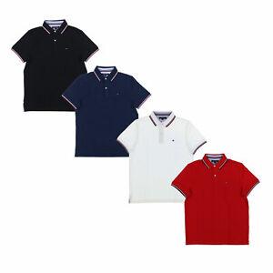 Tommy-Hilfiger-Mens-Polo-Shirt-Short-Sleeve-Mesh-Collared-Top-Flag-Logo-New