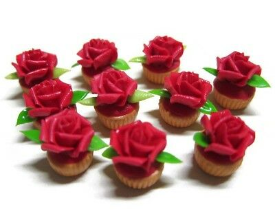 Red Heart Cake Rose Top Dollhouse Miniatures Food Deco Valentine Day
